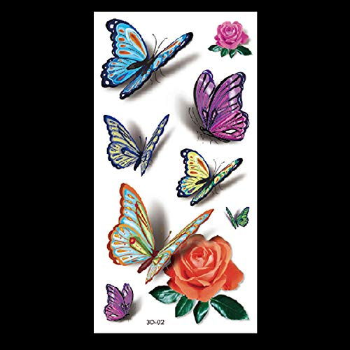 HXMAN 3d Butterfly Tattoo Decals Body Art Decal Flying Butterfly Waterproof Paper Temporary Tattoo Tattoo Animal Flower Tattoo(2 Pack) 3D-02
