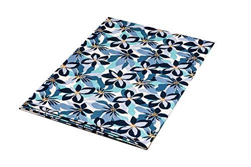 1buy3 Tessuto jersey con motivo a fantasia, al metro, colore: blu, 50 cm x 160 cm, 92% cotone, 8% elastan, diversi colori a scelta, jersey