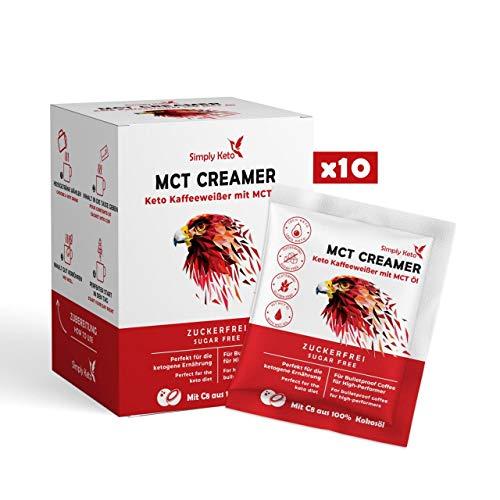Simply Keto | MCT Creamer | praktische 10er Box zum Mitnehmen | Cremiger Bulletproof Coffee komplett ohne Kohlenhydrate & ohne Mixer zubereiten | mit Butter aus Weidehaltung