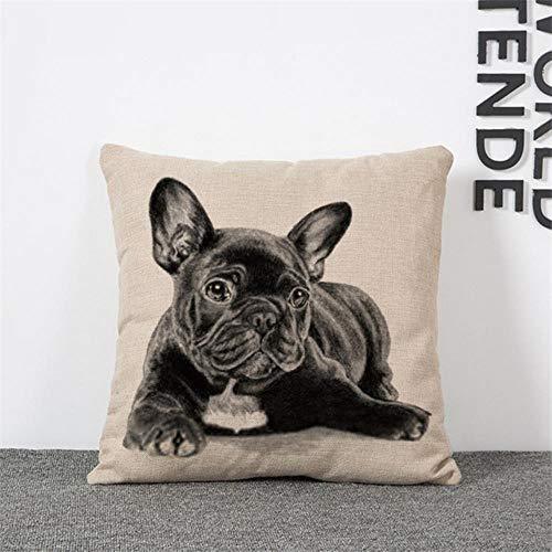CTOBB Cojín 3D de la serie de perro carlino cojín encantador silencioso perro CorgiCotton cojín de lino Euro almohada decorativa para el hogar HH051, perro