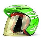 HNLong Casco de Moto, Casco de batería, Casco cálido de otoño e Invierno, Casco Universal Masculino y Femenino, protección Solar, protección UV-Verde Fluorescente