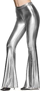 IBTOM CASTLE Women Shiny Slim Fit Bell Bottom Flare Pants Metallic Bootcut Palazzo Retro 70s Glam Yoga Fall Leggings