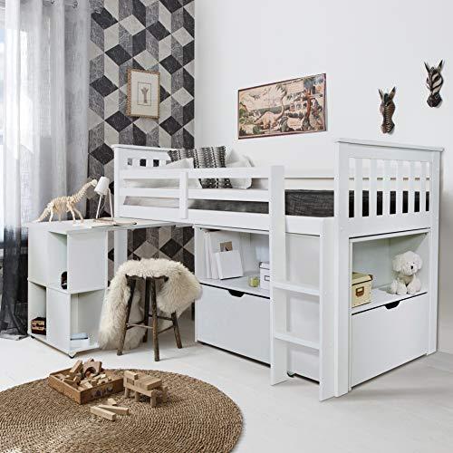 Noa and Nani – Oliver Sleep Station Midsleeper Cabina Cama con Escritorio, Unidad de Almacenamiento cajones y estantes – (Blanco)