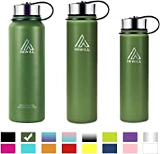 Hiwill Stainless Steel Insulated Water Bottle 2 Lids, Cold 24 Hrs Hot 12 Hrs, Double Wall Vacuum Thermos Flask, Travel Sports Leak Proof Bottle, BPA Free