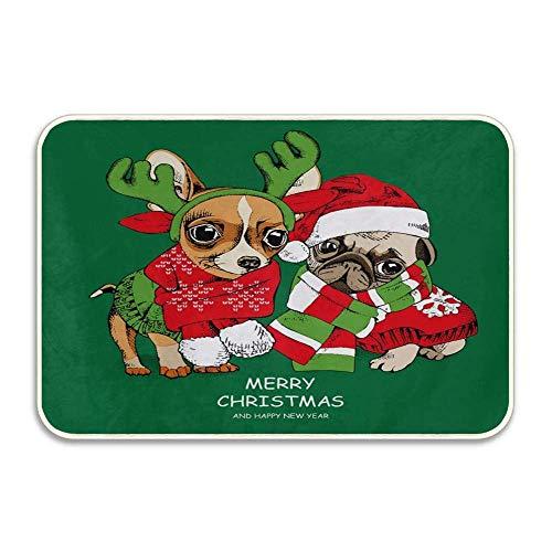 N\A Felpudo Verde del Perro del Barro Amasado de los Ciervos de la Feliz Navidad Alfombra de baño Antideslizante Alfombras de baño absorbentes Alfombras de baño de Espuma viscoelástica