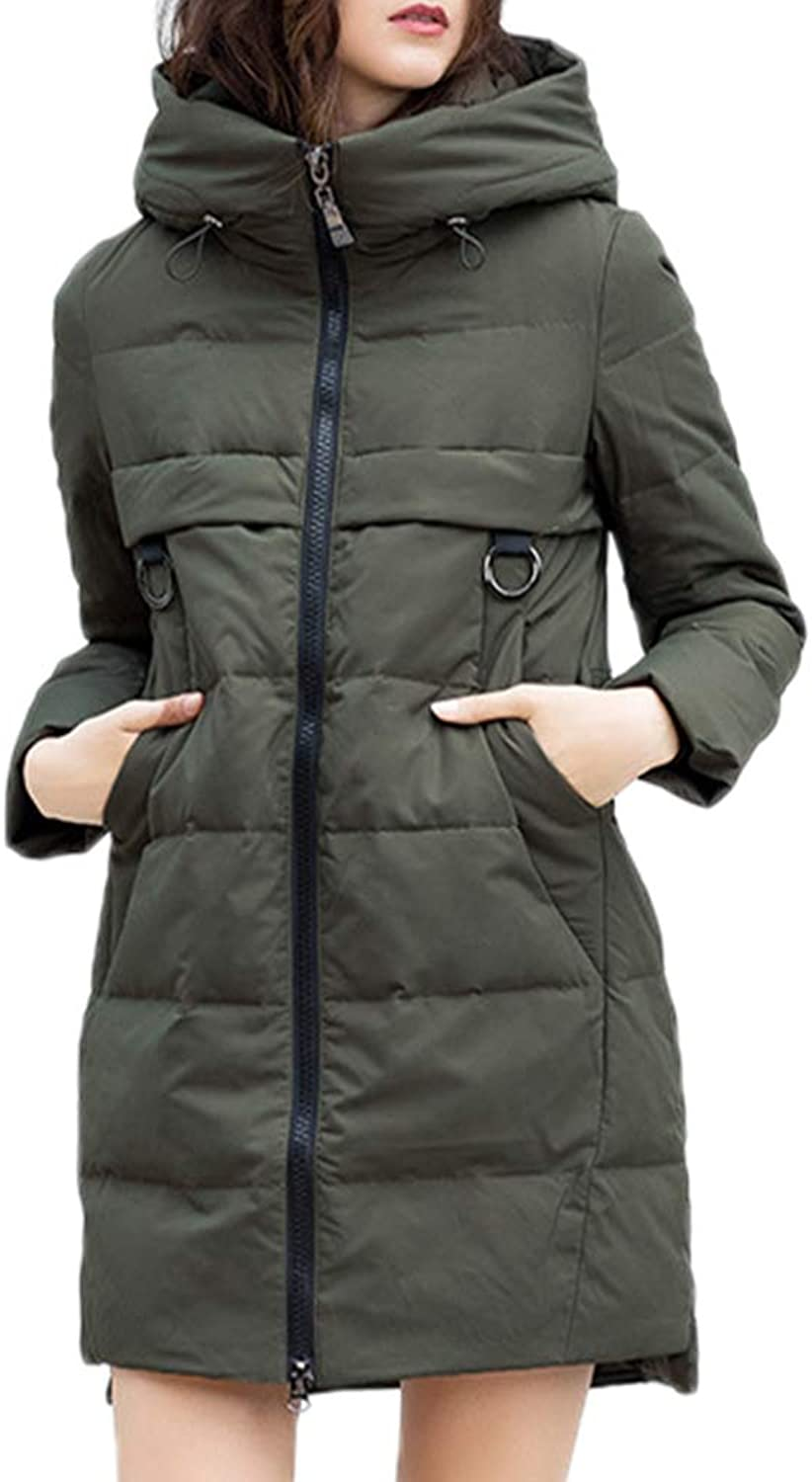 Zenicham Women Thicken Winter Coat Hood Long Pure color Jacket Outwear