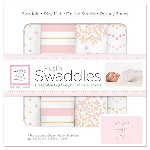 SwaddleDesigns Cotton Muslin Swaddle Blankets Set of 4 Pink Heavenly Floral