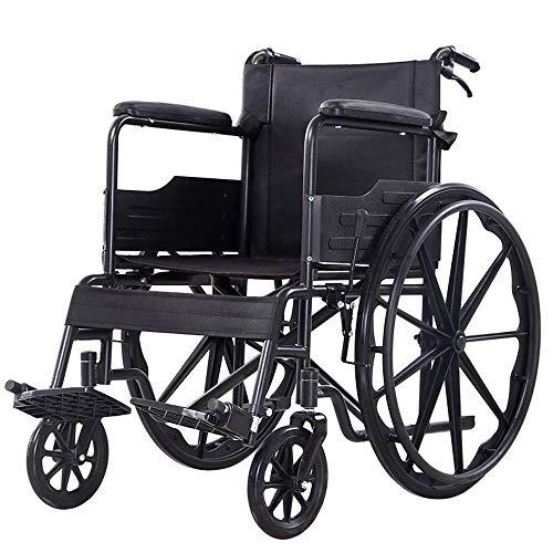 WEHOLY Mobiler Rollstuhl Mobilität Ultraleichter Transportrollstuhl, 19 'breiter Sitz, permanente schreibtischlange Arme, große 24-Zoll-Hinterräder, Feste Fußstützen, schwarz