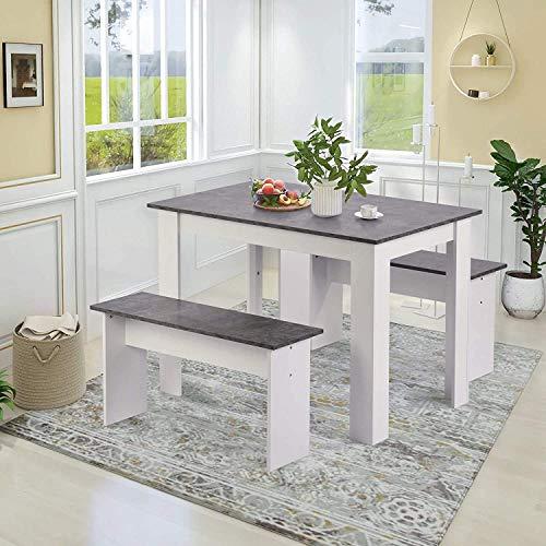 Jeerbly - Juego de mesa de comedor con 2 bancos para cocina,