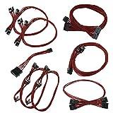 EVGA Red GS/PS (550/650 Watt) Power Supply Cable Set, Individually Sleeved(100-CR-0650-B9)