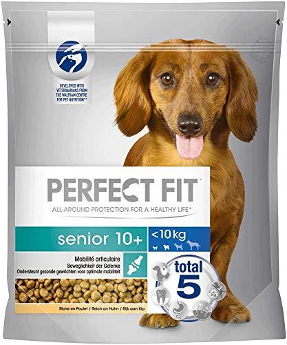 Perfect Fit Hundefutter Trockenfutter Senior 10+ für kleine und sehr kleine Hunde <10kg reich an Huhn, 4 Beutel (4 x 1,4kg)