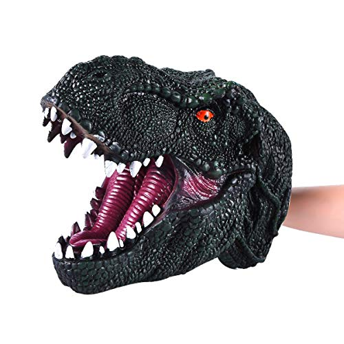 COGO MAN Dinosaur Puppet Rubber, Dinosaur Hand Puppet | Realistic Tyrannosaurus Rex Head | Lifelike Hand Puppet Toys | Halloween Decorations Toys Gifts for Adults and Kids(Dark Green)