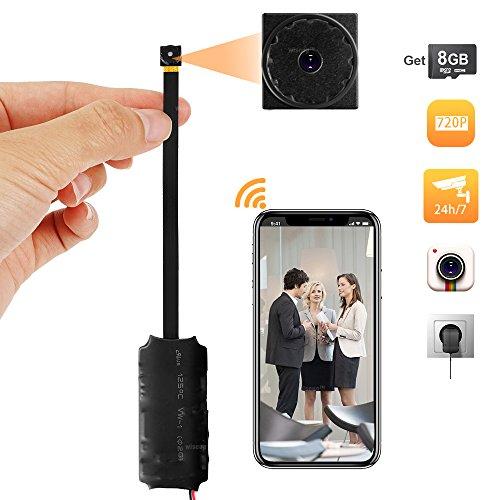 Wiseup Mini-camera, 8 GB, 1280 x 720P, wifi, netwerk door bewegingsmelder, ondersteunt iPhone, Android, app, bewaking op afstand 7/24 uur