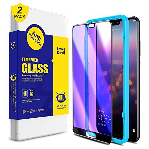 SmartDevil [2 Pack Protector Pantalla de Huawei P20 Pro,Cristal Templado Huawei P20 Pro,Vidrio Templado con [Fácil de Instalar] [Anti-Luz Azul] [Garantía de por Vida] para Huawei P20 Pro
