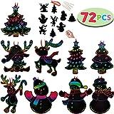 JOYIN Rainbow Color Scratch Christmas Ornaments (5'x 5', 72 Count) Craft Kit Toys Include Snowman, Christmas Tree, and Reindeer