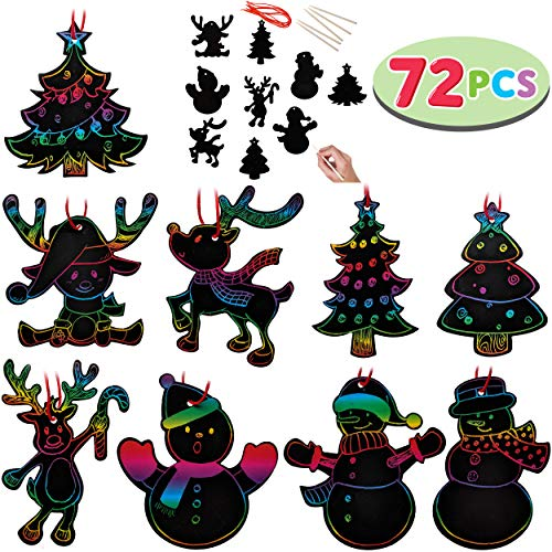 JOYIN Rainbow Color Scratch Christmas Ornaments (5'x 5', 72 Count) Craft Kit Toys Include Snowman, Christmas Tree, and Reindeer