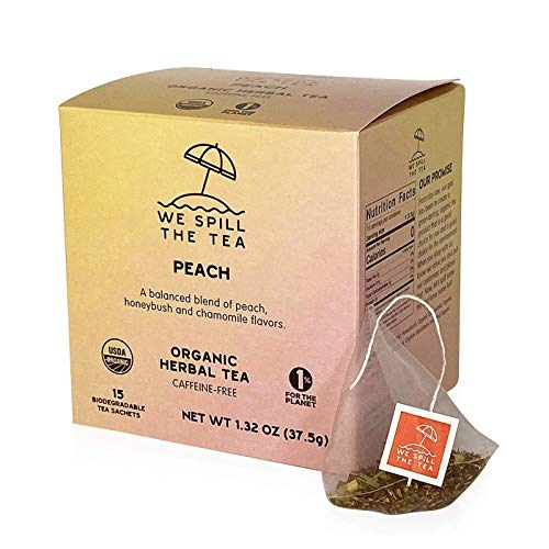 Organic Peach Tea (1 Box, 15 Tea Bags) - We Spill The Tea Organic Tea   Brew Hot or Iced   Peach Honeybush Tea   Caffeine-Free
