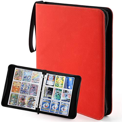 Sovinia Cahier Range Classeur Carte 720 Cartes, Livre Porte Grande Carte Compatible pour Pokemon Trading Card/Yugioh Cards, Album Carte Cahier avec 40 Pages à 18 Pochettes, Rouge