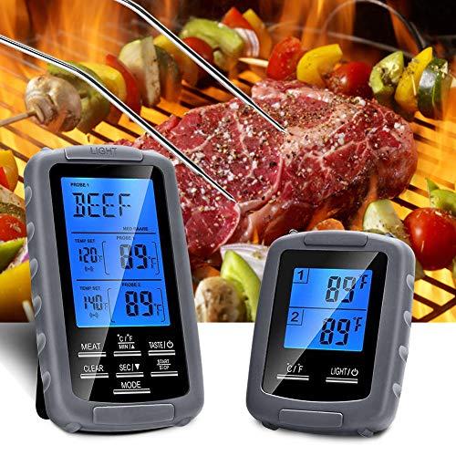 HURRISE Thermomètre de cuisson numérique, thermomètre pour barbecue, affichage, préréglage de la température de la cuisine, détection de la température des aliments