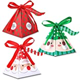 Durevole - La scatola per caramelle di Natale è realizzata in cartone di alta qualità, che è atossico, liscio, robusto e resistente. Design di Natale - La scatola in carta di Natale è stampata su due lati con motivi natalizi unici, aggiungendo un'atm...