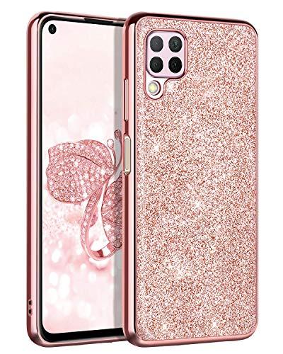 BENTOBEN Huawei P40 Lite Hülle Handyhülle Glitzer Huawei P40 Lite Slim Hülle PC Schale mit TPU Bumper leicht dünn Kratzfest Schutzhülle Glitzer Hülle für Huawei P40 Lite Rosegold