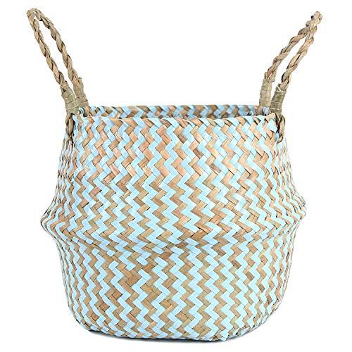 FEILANDUO - Cesta de lavandería de mimbre tejida para el vientre, decoración del hogar, para frutas y algas marinas tejidas a mano, plegable con asa para organizador de macetas (azul, pequeña)