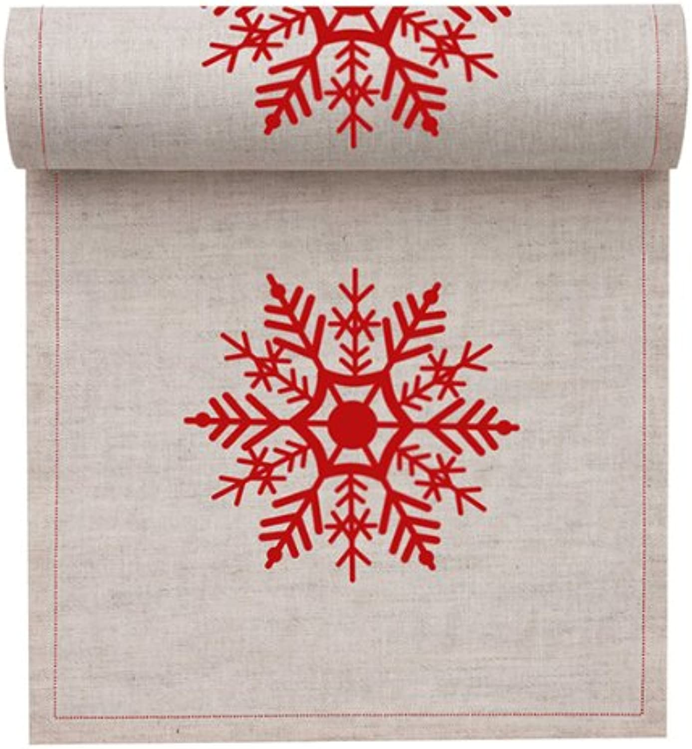 MYdrap SLA11N1 1032 Holiday Printed Cocktail Napkin, 4.5  Length x 4.5  Width, Natural with Red Snowflake (10 Rolls of 50)