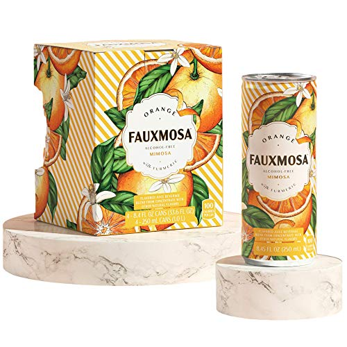 FAUXMOSA Alcohol-Free Mimosas | Best Premium Non-Alcoholic Cocktail, Made with California Grapes, Perfect Champagne Alternative, Non-GMO and Gluten-Free, 8.45 FL OZ Cans (4-Pack) Orange with Turmeric