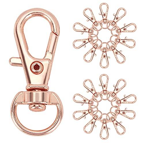 PandaHall 100 cierres giratorios de oro rosa con gancho de aleación de mosquetón, mosquetón, ganchos en forma de D para llavero, para hacer joyas