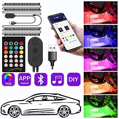 Rapoyo - Iluminación interior LED para coche, iluminación interior con APP, coche 48 LEDs Iluminación para el suelo Iluminación ambiental del interior del coche Tira de luz con puerto USB, 5 V