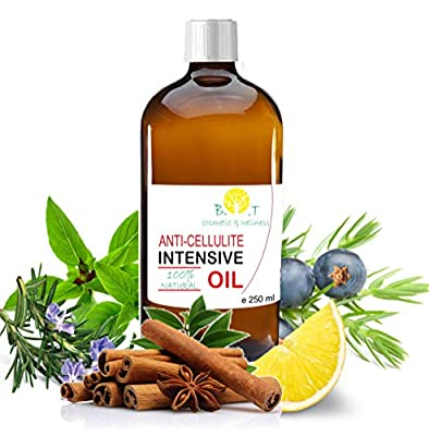 Weight loss Fat Burner Anti Cellulite Oil 100% Natural with Pure Essential Oil of Lemon, Rosemary, Cinnamon, Basil and Juniper Berry - Penetrates Skin Deeper Than any Cellulite Cream 250 ml 8.8 Fl OZ