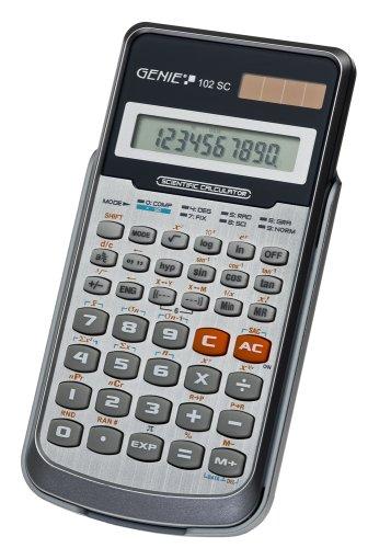 Genie 102 SC technisch-wetenschappelijke rekenmachine (139 functies, 10-cijferig display, incl. beschermdeksel) zilver