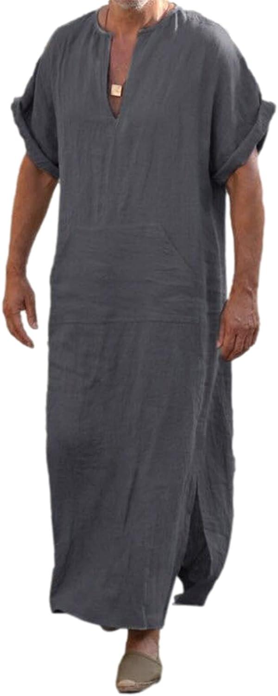 Men's Caftan V-Neck Short Sleeve Robe Side Split Cotton Mens Nightshirt Long Sleep