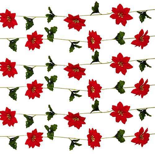 Gift Boutique Christmas Poinsettia Garland 30 Feet Artificial Christmas Flowers & Holly Leaves Chain; with 30 Hanging Poinsettia Flowers Indoor and Outdoor Party Decor Accessories