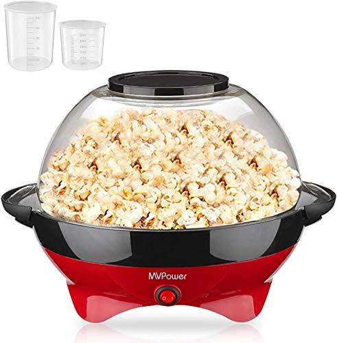 MVPower Popcornmaschine, 800W Popcorn Maker, Popcornmaschine für Zuhause, Popcorn Maschinen, Abnehmbares Heizfläche Antihaftbeschichtung mit 2 Messbechern (100 ml, 30 ml), BPA-Frei, 5 Liter