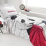 GABEL - Colección Teen - Juego de sábanas para cama de una plaza (efecto colcha) - Impresión digital sobre puro algodón 100 % - Mr Panda - Rojo