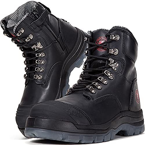 ROCKROOSTER Work Boots for Men, 8 inch, YKK Zipper, Steel Toe, Slip Resistant Safety Oiled Leather Shoes, Static Dissipative, Breathable, Quick Dry, Anti-Fatigue(AK245Z 11)