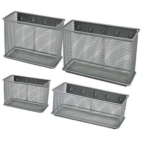Magnetic Storage Baskets File Holder Metal Mesh 4Pcs 1 Set Magnetic Sturdy Mesh Desk Tray/File Organizer/Office Supply Caddy/Letter Holder/Magnet Basket, Silver