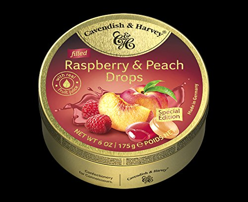 Cavendish & Harvey Drops Himbeere und Pfirsich Bonbons Raspberry & Peach Drops 175g in Metalldose