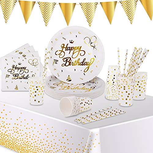 VAINECHAY Fiesta Vajilla Decoración Cumpleaños Platos Vasos Set Papel Servilletas Mantel Pajitas Pancarta Fiestas Desechable Vajilla para 25 Invitados niños adultos