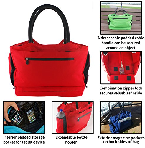 CoolBag Gen 2 - Travel Tote With Anti-Theft Lock and Insulated Cooler Compartment - (Riviera Red)