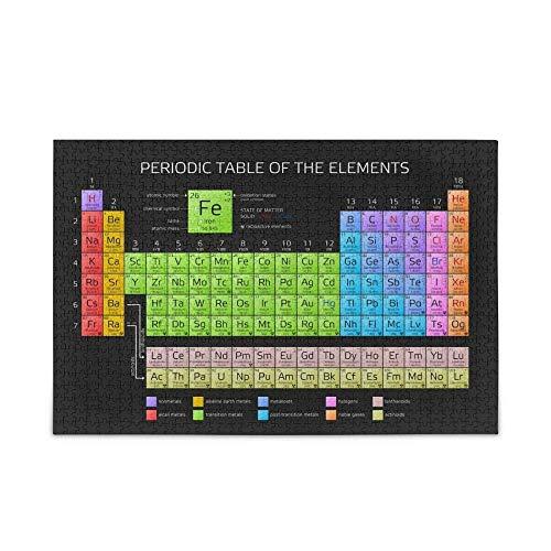 LLYMGX Puzzle Rompecabezas para Adultos Niños 1000 Piezas Colorido Tabla Periódica De Los Elementos Rompecabezas Familia Juego Intelectual Juguete Actividad Padre-Hijo