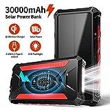 DG-Direct Chargeur Solaire 30000mAh Batterie Externe, Chargeur Solaire Portable sans Fil Qi, Sorties 5V / 3A Haute Vitesse et Doubles entrées Batterie de Grande capacité pour Smartphones
