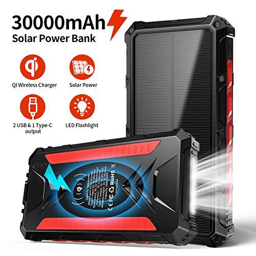 DG-Direct Solar Power Bank 30000mAh, tragbares Qi-Ladegerät für tragbare Solarladegeräte, Ausgang 5V / 3A Hochgeschwindigkeits- und Doppeleingänge Akku mit großer Kapazität für Smartphones