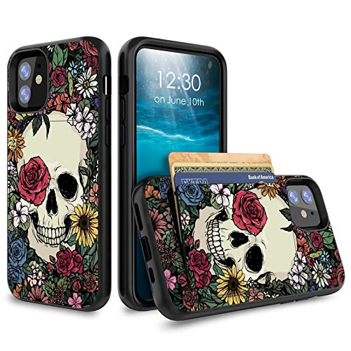 for iPhone 11 Case 6.1 inch Credit Card Holder Wallet Dual Layer Full Body Shockproof Protective Phone Case Cover for Apple iPhone 11 2019 Release - Cute Skull Flower