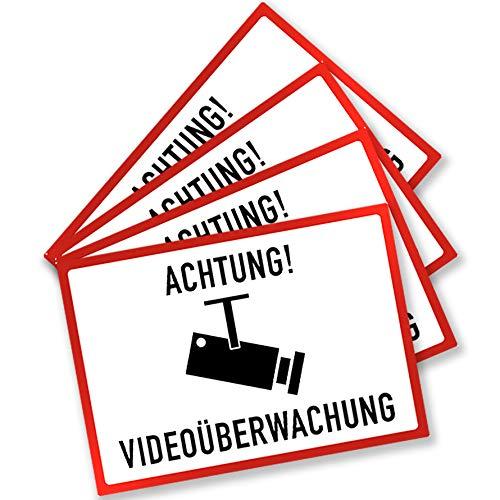 KAVARO Aufkleber Videoüberwachung Kamera Aufkleber zur Einbrecher Abschreckung Kameraüberwachung Alarm (4 Stück)