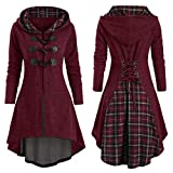 TwoCC Cardigan Oversize à Capuche Lacets à Manches Longues Femmes Plus Size Plaid Horn Button Lace Up High Low Hooded Blouse(Vin Rouge,XXL)