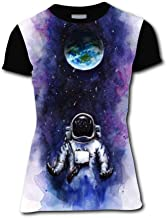 RODONO Space Theme Surfing Astronauts Short Sleeve Crew Neck T Shirt for Womens
