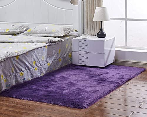 Shengwan Shaggy Alfombra, Soft Antideslizante Sala de Estar Alfombras Suaves Alfombra del Piso para Sofá o Dormitorio Púrpura 60cm x 150cm