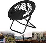 VTAMIN Silla de Camping Redondo, Silla de Bungee sillas Elevadoras elásticas Silla Plegable sillas de Pesca Tumbona reclinable al Aire Libre Tumbona Tumbona Plegable ergonómico (Negro)